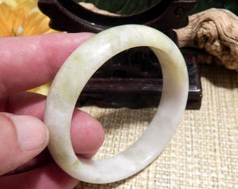 60mm Jade Bangle Bracelet Jewelry Crafts Supplies DIY Crafts Supplies Green White Jade