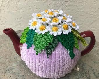 Crochet tea cozy violet tea cover daisy tea cosy tea warmer white daisy flower green kitchen accessory crochet high tea accessory décor