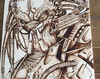Predator - Wall Decor - Art on Wood - Wood burning - Movie Fan Art - Pyrography Art - Geek Gift -  Hout branden - TimberleeEU