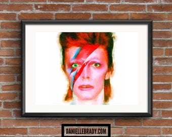 David Bowie Ziggy Digital Art Watercolour Printable Art Downloadable Print