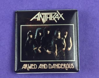 Anthrax Armed and Dangerous Original 1980s Vintage Dead Stock Square Pin