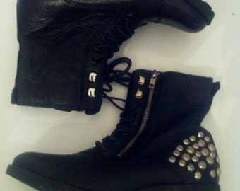 black leather booties combat boot size 7.5