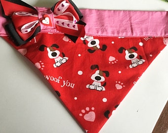Valentine' s Day  Over the Collar Dog Bandana with Optional Color Selections