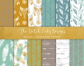 Digital Scrapbook Paper - Boho & Etnic Watercolor Style Patterns - 12 Papers in .JPEG File - INSTANT DOWNLOAD