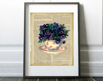 Pansies In A Teacup Teacup With Flowers On Vintage French Book Digital Download