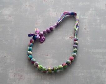 Chunky fabric necklace, statement artisan green purple silk bead bib necklace, unique handmade textile art beaded jewellery, gift for mum