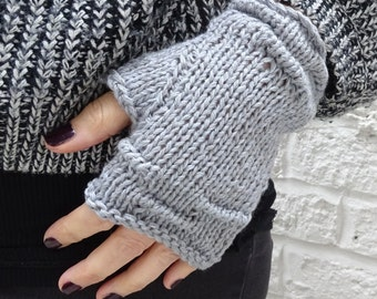 Grey rustic linen and cotton hand-knitted fingerless gloves - ready to ship - FREE DELIVERY