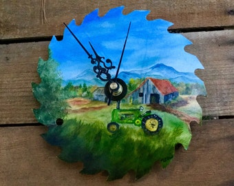Saw blade painting, clock, barn, tractor,oil painting, Appalachian Mountains, Blue Ridge Mountains, Smoky Mountains, painted saw blade