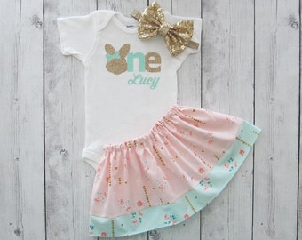 Some Bunny is One Shabby Chic First Birthday Outfit in Peach and Mint Green Floral Print - twirl skirt, girl birthday outfit, peach mint