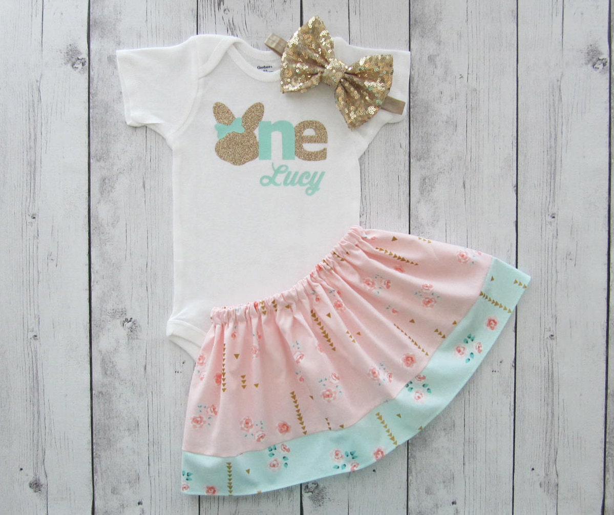 Some bunny is one shabby chic first birthday outfit in peach - Shabby chic outfit ideas ...