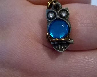 Teal Owl wire wrapped ring, one size