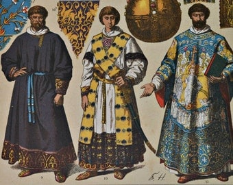 German clothes and art in the Medium Age.  Antique print, 1894.  123 years old print.  11,5 x 8,4 inches.
