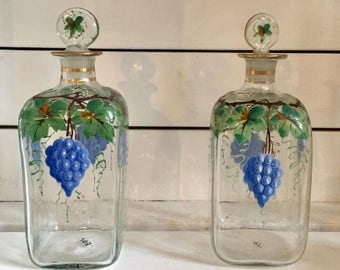 A Pair of Edwardian Decorative  Hand Painted Bottles/Decanters