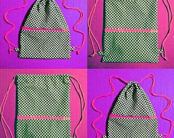 Black and white backpack with geometric motifs, backpack with minimal geometry, drawstring bag