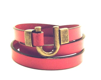 Leather Bracelet Wrap Red Bronze Gold Clasp