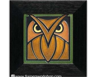 """Framed Green-Oak Motawi Tile 4"""" x 4"""""""