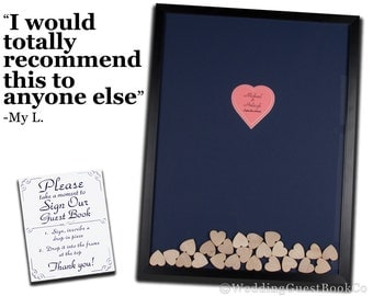 Wood Heart Guestbook Drop In Top Shadow Box Frame Unique Wedding Guest Book Wedding Alternative Idea