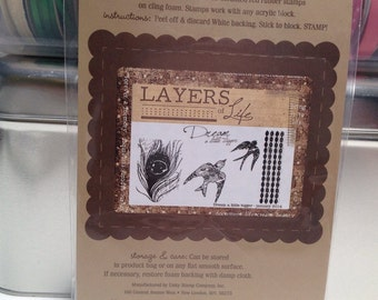 Unity Stamp Layers of Life Dream a little bigger red rubber stamp set Unused