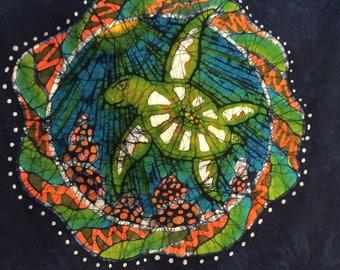 XL. Blue handmade batik sea turtle t shirt