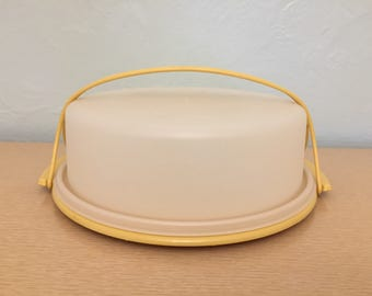 Tupperware Harvest Gold Plastic Cake Carrier with Handle & Clear Lid 719 / 720 / 721