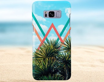 Pastel Chevron x Summer Party Palm Tree, iPhone X, iPhone 8 Plus, Rubber iPhone Case, Galaxy s8, Samsung Galaxy s8 Plus, Google Pixel 2