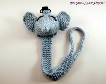 Hand-Knit Elephant Pacifier Clip - Knit Pacifier Leash - Pacifier Clip for Baby - Knitted Soother Clip - Knit Elephant Toy