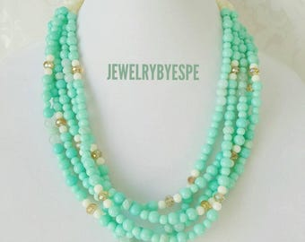 Mint Statement Necklace, Gold Crystal Necklace, Mint Green Wedding Jewelry, Mint Multi Strand Necklace