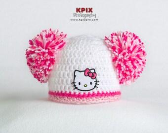 Hello Kitty pompom hat for newborn baby girl