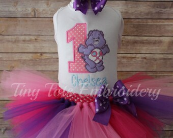 Care Bear Tutu Outfit ~ Share Bear Birthday Outfit ~ Includes Top, Tutu & Hair Bow ~ Can Customize In Any Color Of Your Choice!