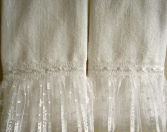 RUFFLED LACE Fingertip or Guest Towel pair (2) White Velour Terry Cotton Custom-made