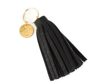 Black Mini Tassel, Personalized Tassel Charm, Black Purse Charm, Zipper Charm, Initial Charm, Gift Idea, Leather Tassel, Purse Accessory