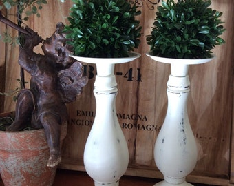 Rustic Cottage Chic Candleholders, Table Centerpiece, White Distressed Candlestick Holders, Farmhouse Decor, Set of 2