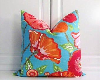 Thibaut Decorative Pillow Cover- Aqua & Orange- Poppies- Chinoiserie- 18x18,20x20,22x22,24x24