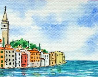 SALE! ACEO Original Watercolor Painting and Ink-Old Venetian Town of Adriatic Sea/Croatia