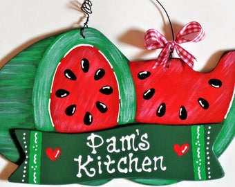 Personalized WATERMELON Kitchen SIGN Wall Hanger Hanging Plaque Handcrafted Hand Painted Country Wood Crafts Decor