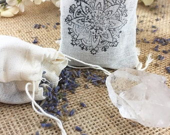 Sachet Lavender and Crystal Organic Sachet Gift for her Raw Crystal Healing Crystals and Stones Herbs Stocking Stuffer Bohemian Decor