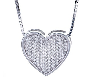 925 Sterling Silver Valentine Micro Pave Heart with Chain (7 grams)