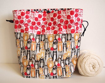 "Knitting Project Bag, MEDIUM, original Sheep fabric designs, 10""x 7"" x 4"", perfect for knitting, yarn, sewing & crochet. Organize and store."