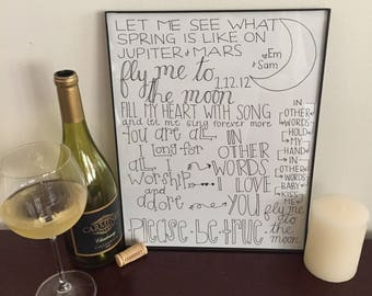 Fly Me To The Moon Print, Frank Sinatra, Birthday Gift, Anniversary Gift, Personalized Wedding Present, Paper Anniversary, Gifts for Her