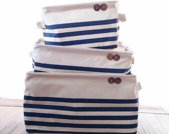 Canvas Baskets set of 3 - Stripe blue/red