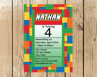 Lego Birthday Party Invitation Printable (Digital File ONLY)