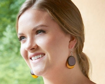 Eco Friendly Earrings Sustainable Duo Dangle Tagua Earrings