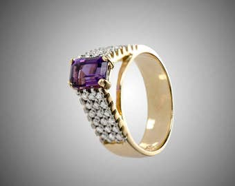 14k amethyst and diamonds fashion ring