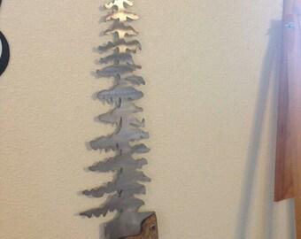 Plasma cut metal tree saw art