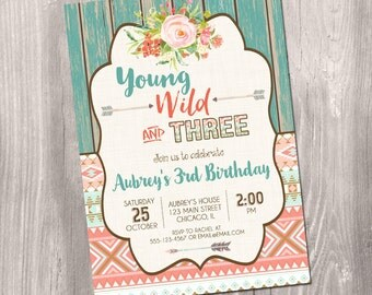 Young wild and three birthday Invitation, tribal birthday invitation, third birthday invitation, 3rd birthday, aztec Printable Invitation