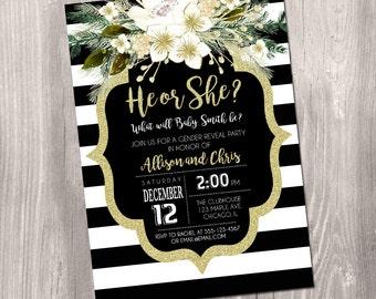 holiday gender reveal invitation, christmas baby reveal invite, he or she, winter gender reveal gold glitter digital printable digital