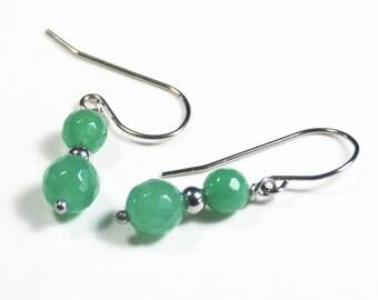 Green Aventurine gemstone earrings on stainless steel