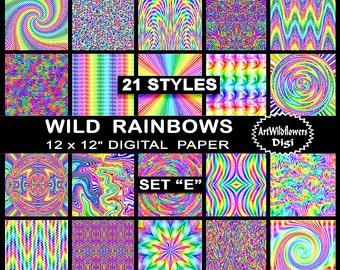 Rainbow Digital Paper Set - 21 Printable Psychedelic Tie Dye Backgrounds - Set E