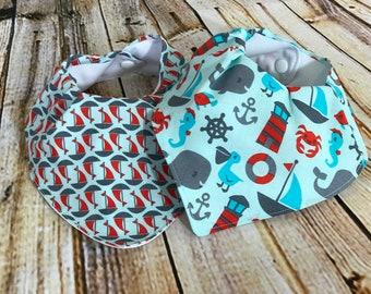 Nautical Bandana Bib Set, Waterproof, Sail Boats, Anchors, Drool Bib, Teething Bib, Set of Two, Baby Boy, Red and Blue, Baby Shower Gift