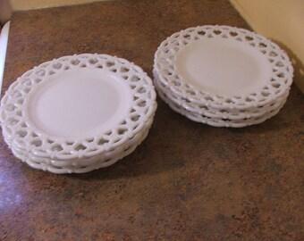 Set of Six (6) Vintage 1960s Westmoreland Doric Lace Lattice Milk Glass Forget-Me-Not Pattern Salad Plates